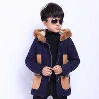 New Kids Boy Fashion Winter Wool Coat Baby Boys Woolen Fur Hoodie Jacket Outerwear Children Plus Cotton Overcoat Clothes 5-9Y