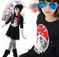 2014 New Girls Dress Spring Autumn Children's clothing cat Design long sleeve dresses 1pcs sale free shipping  FF385
