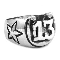 Free shipping! Carved Word Lucky 13 Ring Stainless Steel Jewelry Fashion Motor Biker Ring SWR0269