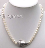 SALE 6-7mm NATURAL WHITE FW CULTURED PEARL NECKLACE with Tibetan Silver fish-nec5379 Free shipping