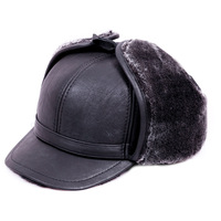 2014 elderly male Sheep skin hat   winter ear plus velvet thickening dome outdoor hat
