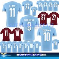 14/15 Top Thailand Best Quality Lazio Home Away Soccer Jerseys Shirt 2015 Lazio #11 KLOSE CANDREVA EDERSON Jerseys Free Shipping