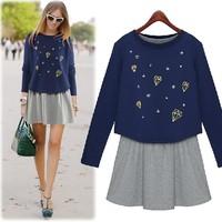 Fashion autumn 2014 women's sweatshirt tank dress long-sleeve print twinset one-piece dress