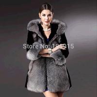 Brand newWinter Womens Hooded Jacket Fox Faux Fur Outwear Long Parka Long Sleeve Coat