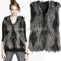 Brand newWomen Faux Fur Sleevless Vest Waistcoat Jacket Coat Peacock Style Overcoat