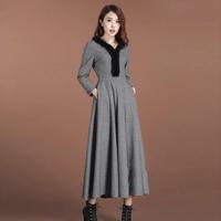 Twods 2014 new autumn and winter long wool dress fur collar grey wool maxi dress swing warm winter dress plus size dress