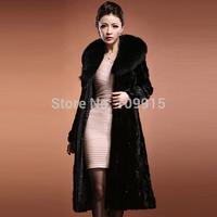 Brand newWomens Outwear Long Sleeve Mink Fur Coat Long Jacket Black UK6 10 12 14 16