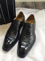Fashion men's leather shoes, leather shoes by hand High-end luxury wedding shoes men's crocodile grain business dress shoes