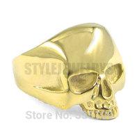 Free shipping! Gold Plated Skull Biker Ring Stainless Steel Jewelry Gothic Skull Motor Biker Men Ring SWR0036G