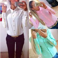 Plus Size S-XXL Women Chiffons Blouse Camisas Blusas Femininas 2014 Ladies Long Sleeve Sheer Button Casual Blouses Shirt Tops