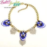 Vintage Flower Chunky Statement  Choker Collar Bib Necklace For Women Fashion Designer Chain Pendant Jewelry Free Shipping