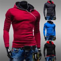 2014  Hot sale  Monde  Zipper Hoodie men 's slim fleece hooded coat 4 colors