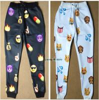 New Emoji style men print pants funny cartoon sweatpants black & white thicken long joggers trousers sportswear clothes sale