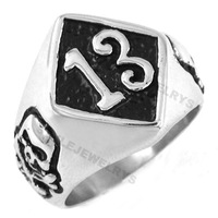 Free Shipping! Lucky 13 Ring Skull Motor Ring Stainless Steel Jewelry Gothic Biker Ring SWR0175A