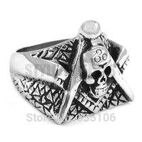 Free shipping! Freemason Masonic Ring Stainless Steel Jewelry Gothic Skull Motor Biker Ring SWR0260