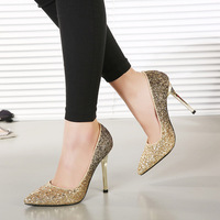 Free shipping  European  new women pumps flash gold sequins stiletto pointed toe sexy women shoes size(35-40)