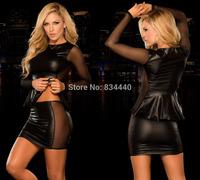 2014 LadyLeather Lingerie Sexy Body Suits Women PVC Erotic Leotard Costumes Latex Clothes Bodysuit Catsuit women leather dresses