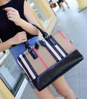 Freeshipping hot sales 2015 women's check fashion women's handbag fashion handbag large canvas bags plaid bag