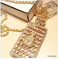 For Samsung Galaxy S4 Case Perfume Necklace Diamond Pearl Luxury Lady Gift Cover Fashion Bling Star