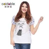 Prabhutaratna plus size clothing mm fashion small cat patchwork print o-neck loose t-shirt a2950