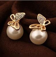 New Fashion Flying Butterfly Earrings Rhinestones Pearl Earrings Bowknot Earrings For Women