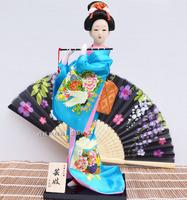 Free shipping 30cm crafts Geisha dolls, handmade beautiful birthday gift dolls blue silk clothing creative gifts