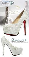 Female high-heeled wedding shoes waterproof red glass slipper diamond white wedding shoes bridal bridesmaid shoes