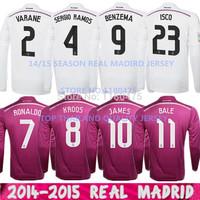 14/15 Thailand Home Chicharito Real Madrid Long Sleeve Jersey Pink Away 2015 Ronaldo James Real Madrid Long Sleeve Soccer Jersey