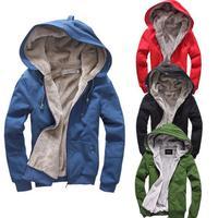 2014 New Men's Plush Thick Warm Hoodie Overcoat Winter Coat Fleece & Men's Cotton Padded Jacket 6 colors for male M21