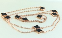 High Quality Ten Black Clover Long Sweater Necklace Rose Gold / Yellow Gold / Platinum Plated 316L Stainless Steel Jewelry