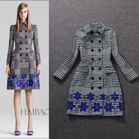 Free Shipping 2014 Winter New Brand Dress For Women Fashion Women Plaid Woolen Flower Overcoat Patchwork Trench Coat