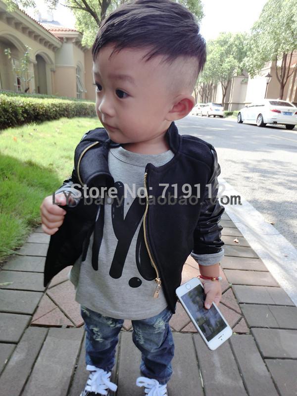 Couro terno roupa pequena gola roupas de couro casaco Chokecherry bebê infantis para crianças(China (Mainland))