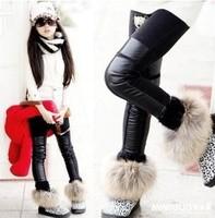 Kids Girls Winter Leggings PU Faux Leather & Cotton Fashion Patchwork Black Warm Legging Children' s Leggings For Girls WB-15