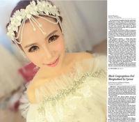 wholesale Bridal Hair Wraps - Style Simulated Pearl Clear Austrian Crystal Hair Comb