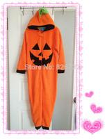 free shipping 2014 Halloween Jack-O-Lantern boy's coral velvet sleepwear ,children's blanket sleeper