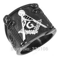 Free shipping! Freemasonry Masonic Ring Stainless Steel Jewelry Cool Black Masonic Ring SWR0147A