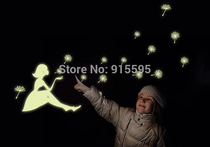 "Free Shipping:Glow In The Dark""Dandelion Girl""Luminous Cartoon Kids Sticker/Removable Vinyl Wall Sticker/Funiture 3D Sticker(China (Mainland))"