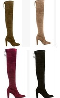 Genuine leather suede over the knee boots,high heel gladiator thigh high boots,stretch long boots