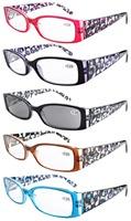 R040 Floral Print  Spring Hinge Plastic Reading Glasses (5 Pairs Mix)+0.5/0.75/1.0/1.25/1.5/1.75/2.0/2.25/2.5/2.75/3.0/3.5/4.0