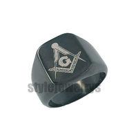 Free shipping! Masonic Ring Stainless Steel Jewelry Black Plated Freemasonry Masonic Ring SWR0009B