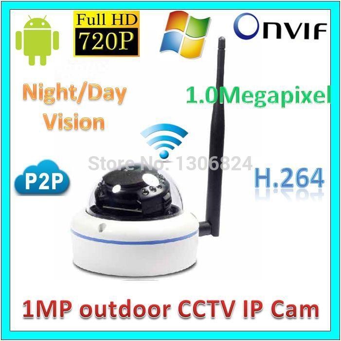 Free Mail 720P 1.0MP WiFi Wireless Network IP Camera Audio P2P Vandal-prood CMS 720P ir 20M Digital Video Surveillance Webcam(China (Mainland))