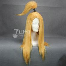 Naruto Deidara Cos peruca amarela cílios cabelo reto longo 60 cm perucas Cosplay Anime plutão P240A(China (Mainland))
