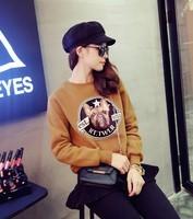 print hoody women autumn winter casual long sleeve pullover cotton long sleeve hoody o neck outwear vogue  AZ141