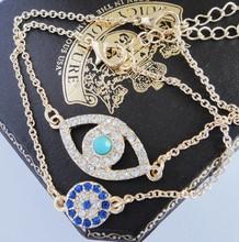 New 2014  2Pcs New Jewelry Lucky Evil Eye charm Beads Chain Hamsa protection Bracelet(China (Mainland))