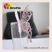 Wedding place card butterfly place card wedding wine glass name card on table