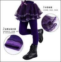 Winter thick pants children Korean model little girls' pantskirt lovely leggings factory shipping
