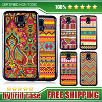 Silicon Case For Samsung Galaxy S5 Hard Back I 9600 Black Soft Frame Pattern Original Tpu+Pc Replacemen New Wholesale AZTEC