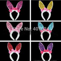30pcs/Lot Red Pink NEW 2015 Christmas adjustable elastic Sequin plush bunny ears headband big bowknot rabbit ear headband