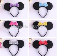 5PCS/Lot  Mickey minnie mouse headband Birthday party cartoon make up plush headband 7colors Available