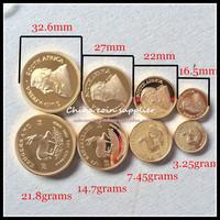 wholesale 1000 pcs/250 sets 2014 Krugerrand 1 oz 1/2 oz 1/4 oz 1/10 oz Gold plated brass non magnetic  coin set